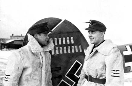 Oblt. Felix-Maria Brandis, Staffelkapitän of 10.(Z)/JG 5 on the right and his radioman Fw. Baus. Eastern Front 1942/43.