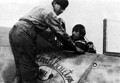 Bretschneider in the cockpit of Rauhbautz VII