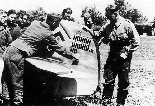 Rudder of Hans von Hahn`s (right) Bf 109F shows twenty-four victories, three baloon and three aircrafts destroyed on the ground.