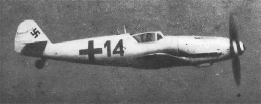 Light grey RLM 76 camouflaged Bf 109G-6/AS (W.Nr. 412 179) black 14 belonging to Fw. Horst Petzschler of 2./JG 3.