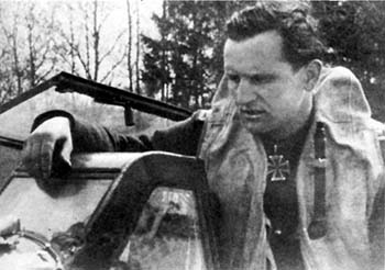 Ofw. Helmut Rüffler shortly after return from combat flight - note the damaged armour glass. Junkertroylhof 1945